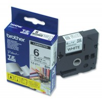 "Brother TZ-211 P-touch® Label Tape, 6mm, (1/4""), Black on White"