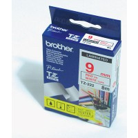 "Brother TZ-222 P-touch® Label Tape, 9mm, (3/8""), Red on White"