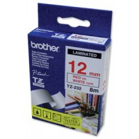 "Brother TZ-232 P-touch® Label Tape, 12mm, (1/2""), Red on White"