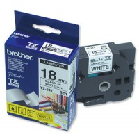 "Brother TZ-241 P-touch® Label Tape, 18mm, (3/4""), Black on White"