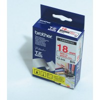 "Brother TZ-242 P-touch® Label Tape, 18mm, (3/4""), Red on White"