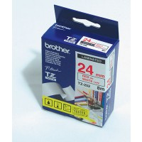 "Brother TZ-252 P-touch® Label Tape, 24mm, (1""), Red on White"
